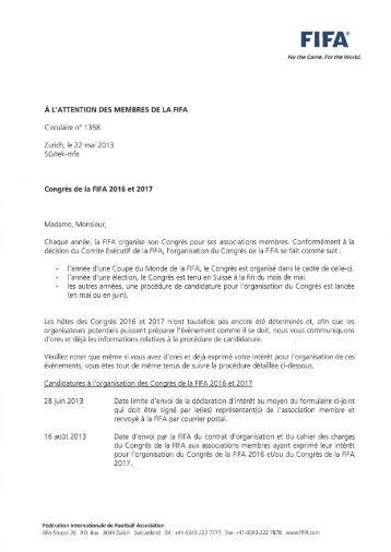 Nº 1358 - Congrès de la FIFA 2016 et 2017 - FIFA.com
