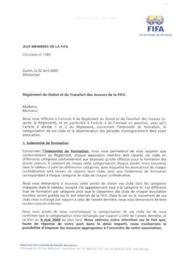 AUX MEMBRES DE LA FIFA Reglement du Statut et du ... - FIFA.com