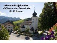 Aktuelle Projekte des e5-Teams der Gemeinde St. Koloman