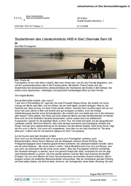 Studentinnen des Literaturinstituts HKB in Biei 1 ... - Biennale Bern