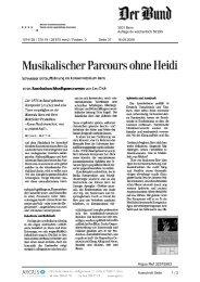 Musikalischer Parcours ohne Heidi - Biennale Bern