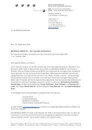 Medienmitteilung BB'05 9.9.2005 - Biennale Bern