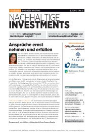 Business Briefing Nachhaltige Investments vom März ... - Handelsblatt