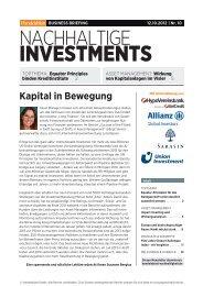 Business Briefing Nachhaltige Investments vom ... - Handelsblatt