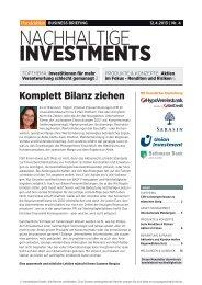Business Briefing Nachhaltige Investments vom April ... - Handelsblatt