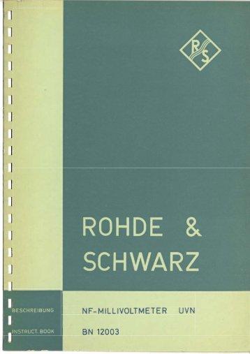 Rohde & Schwarz NF-Millivoltmeter UVN BN 12003