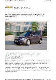 Chevrolet Orlando: Frischer Wind im Segment der Familien-Vans