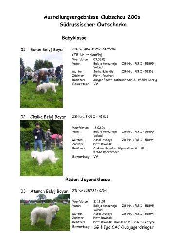 Austellungsergebnisse Clubschau 2006 Südrussischer Owtscharka