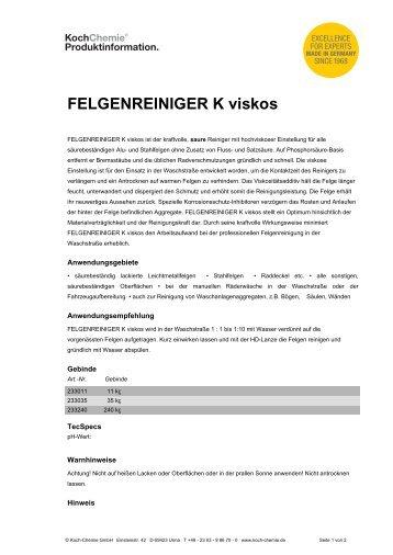 FELGENREINIGER K viskos - Koch-Chemie