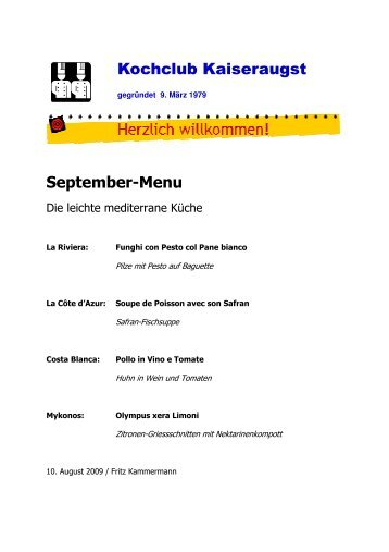 Menü als PDF herunterladen - Kochclub Kaiseraugst