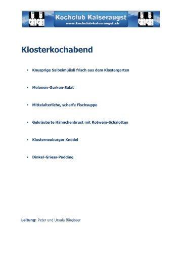 Menu als PDF herunterladen - Kochclub Kaiseraugst