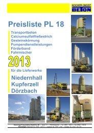 Preisliste PL 18 - Kocher-Jagst Transportbeton GmbH & Co. KG