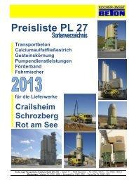 Preisliste PL 27 - Kocher-Jagst Transportbeton GmbH & Co. KG