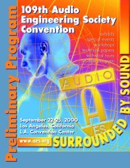 We welcome you to the - Audio Engineering Society