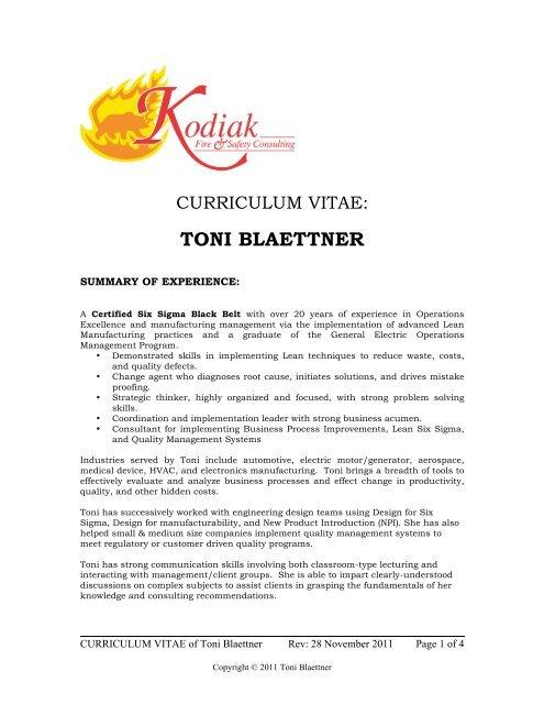 Curriculum Vitae - Kodiak Fire & Safety Consulting, Inc