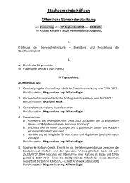 Stadtgemeinde Köflach Öffentliche Gemeinderatssitzung