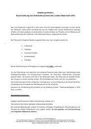 Ausschreibung des Volkskulturpreises des Landes Steiermark 2012