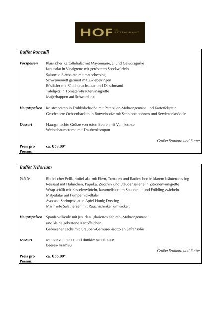 Büfettvorschläge HOF 18 (PDF) - Köln Locations