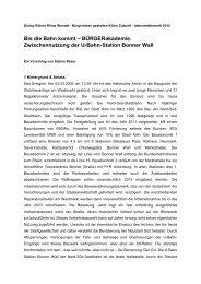 Bis die Bahn kommt - BÜRGERakademie - Dialog Kölner Klimawandel