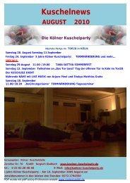 Kuschelnews August 2010 - Die Kölner Kuschelparty