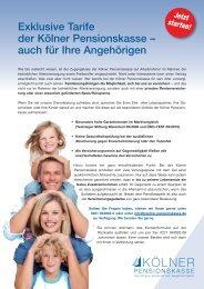 auch für Ihre Angehörigen - Kölner Pensionskasse
