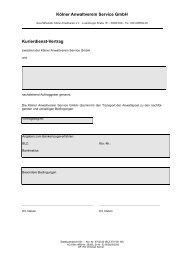 Kölner Anwaltverein Service GmbH Kurierdienst-Vertrag