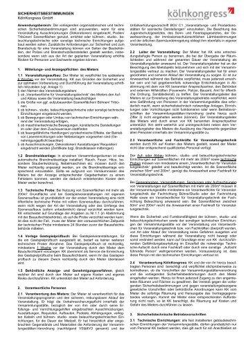 SICHERHEITSBESTIMMUNGEN KölnKongress GmbH
