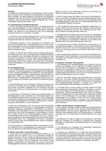ALLGEMEINE MIETBEDINGUNGEN KölnKongress GMBH