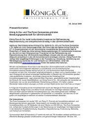 König & Cie. und Pyne Companies gründen Beratungsgesellschaft