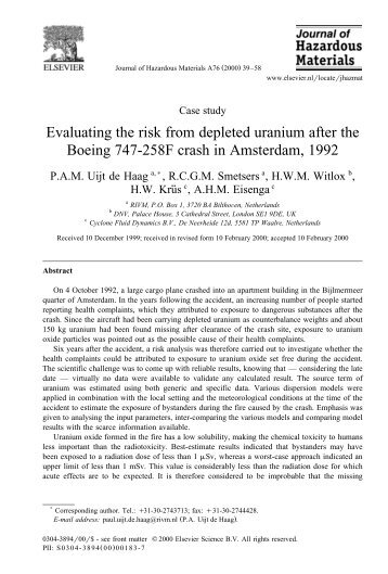 Evaluating the risk from depleted uranium after the ... - Aerohabitat
