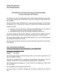 Anmeldung und Untersuchung der Schulneulinge für das Schuljahr ...