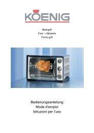 Bedienungsanleitung Mode d'emploi Istruzioni per l'uso - Koenig