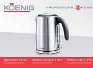 Wasserkocher 1.5 Liter Bouilloire électrique 1.5 litres ... - Koenig