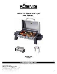 Instructions pour grils à gaz avec recettes - Koenig