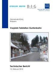 Vorplatz Talstation Gurtenbahn Technischer Bericht - Gemeinde Köniz