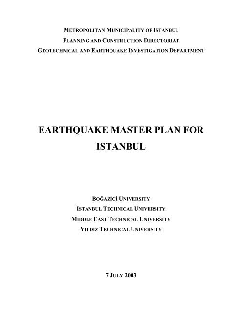 Earthquake Master Plan for Istanbul (PDF)