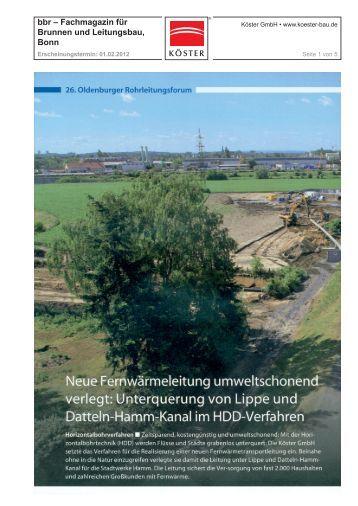 bbr – Fachmagazin für Brunnen und Leitungsbau ... - Köster GmbH