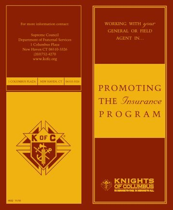 Promoting the Insurance Program - Knights of Columbus, Supreme ...