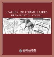 CAHIER DE FORMULAIRES - Knights of Columbus, Supreme Council