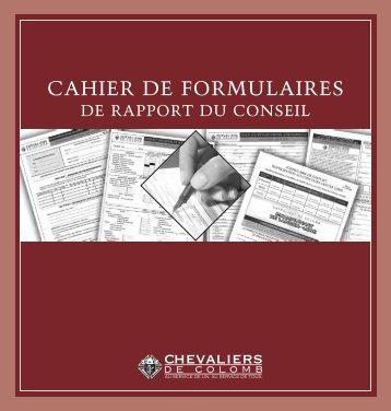 CAHIER DE FORMULAIRES - Knights of Columbus, Supreme Council