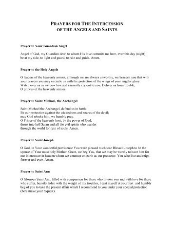 PRAYERS FOR THE INTERCESSION OF THE ANGELS AND SAINTS