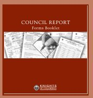 Council Report Forms Booklet - Knights of Columbus, Supreme ...