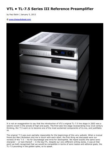VTL • TL-7.5 Series III Reference Preamplifier - kog audio