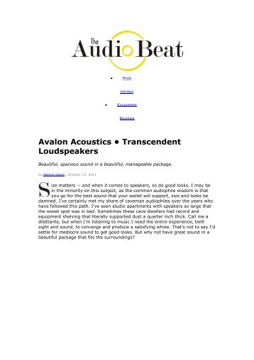 Avalon Acoustics • Transcendent Loudspeakers - kog audio