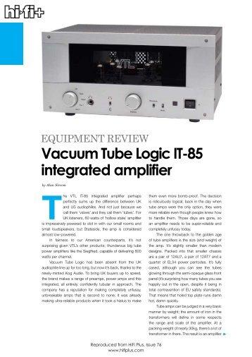 Vacuum Tube Logic IT-85 integrated amplifier - kog audio