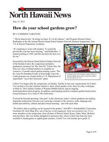 How do your school gardens grow? - The Kohala Center