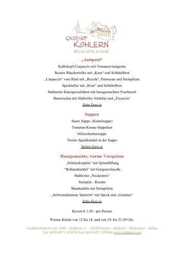 Gasthof Kohlern Speisekarte á la carte September 2010