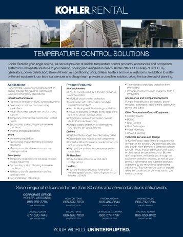TEMPERATURE CONTROL SOLUTIONS - Kohler Power