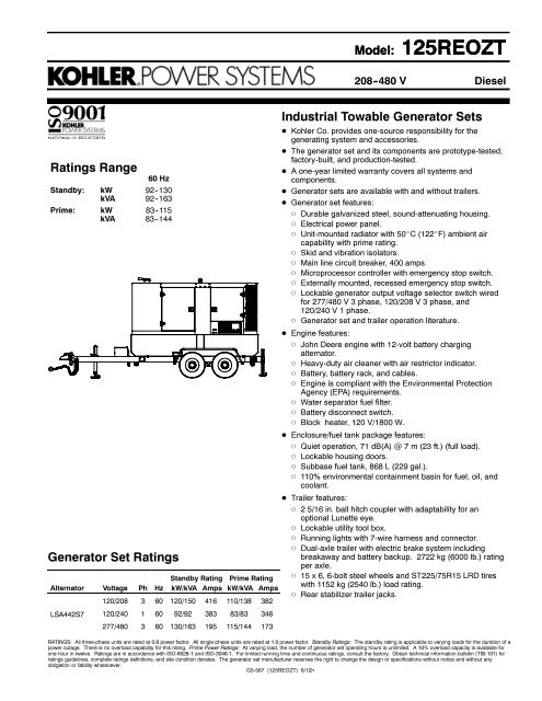 Spec. Sheet - g5567.pdf - Kohler Power on