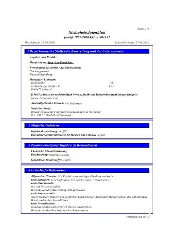 Sicherheitsdatenblatt AquaActiv PondClear - Koi